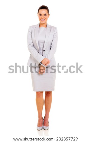 attractive business woman on white background - stock photo