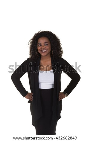 Attractive business woman smiling against a white background - stock photo