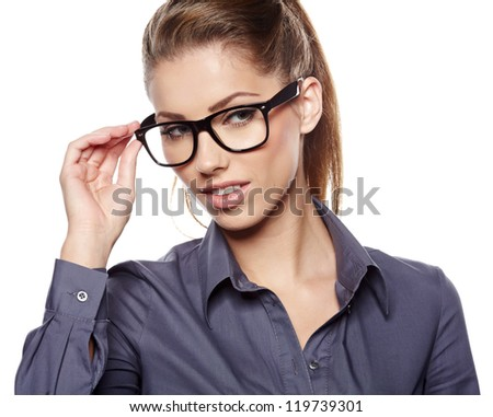 Attractive business woman smiling against  copy space background