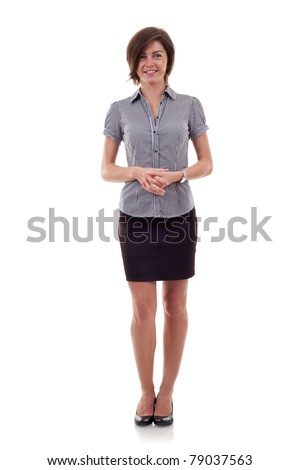 attractive business woman standing on a white background