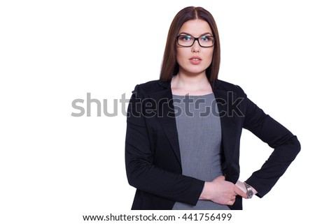 Attractive business woman. Studio portrait of a confident businesswoman isolated on white. - stock photo