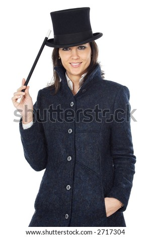 attractive business woman with a magic wand and hat a over white background