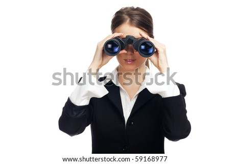 Attractive business woman with binoculars - isolated on white