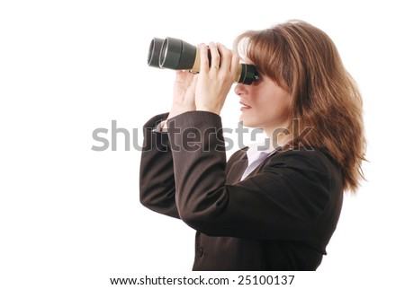 Attractive business woman with binoculars - isolated on white background - stock photo