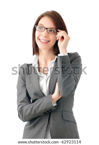 Attractive business woman with glasses - stock photo