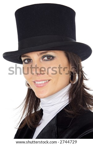 attractive business woman with hat a over white background
