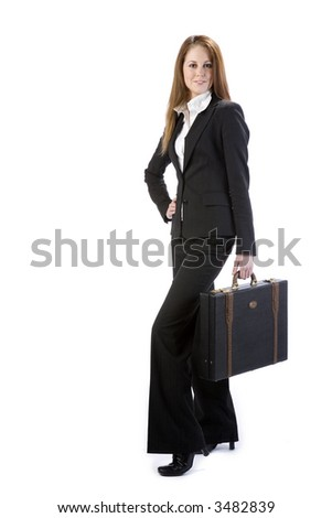 Attractive business woman with leather briefcase