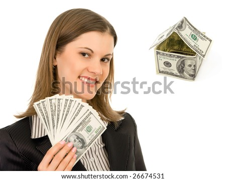 Attractive business woman with money. Isolated on white.