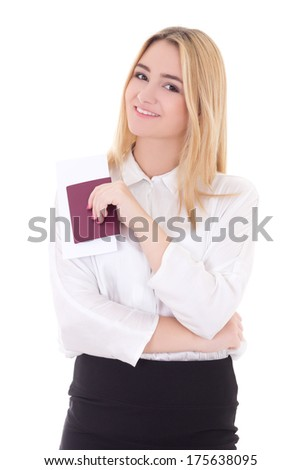 attractive business woman with passport and ticket isolated on white background - stock photo