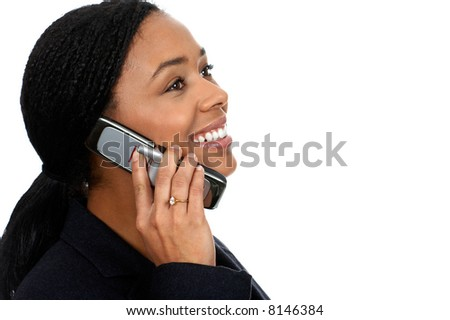 attractive business young woman calling by cellular phone. - stock photo