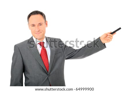 Attractive businessman during a presentation. All on white background. - stock photo