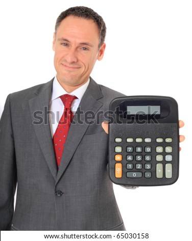 Attractive businessman holding calculator. All on white background