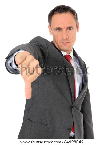 Attractive businessman making negative gesture. All on white background. - stock photo