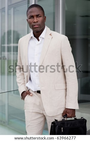 Attractive Businessman outside his office