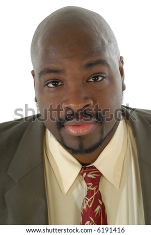 Attractive businessman's portrait with a sweet smile; isolated on white - stock photo