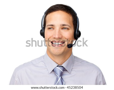 Attractive businessman talking on headset against a white background - stock photo