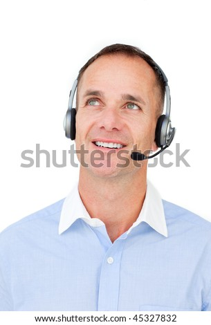 Attractive businessman using headset against a white background - stock photo