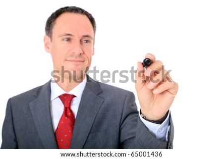 Attractive businessman using marker. Focus on hand ind foreground. All on white background. - stock photo