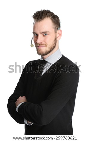 Attractive businessman wearing a shirt with a black tie with a headset. White background. - stock photo
