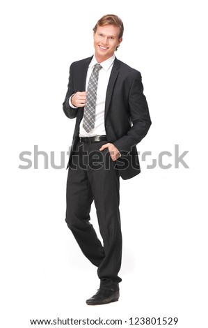 Attractive businessman with a smile on his face. Full length portrait of handsome business person holding his jacket. Isolated on white background - stock photo