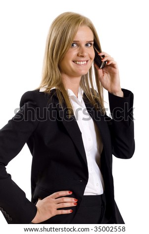 attractive businesswoman at a phone over white background