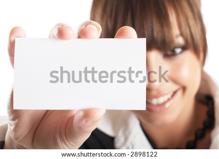 Attractive Businesswoman Closeup - presenting her business card - stock photo