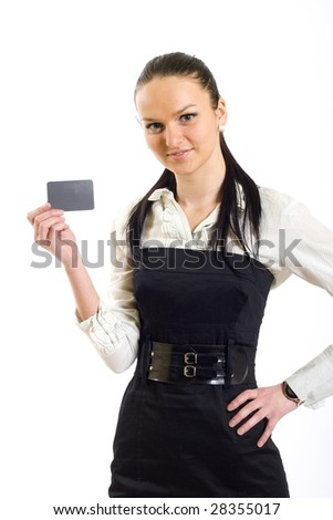 attractive businesswoman holding a blank card