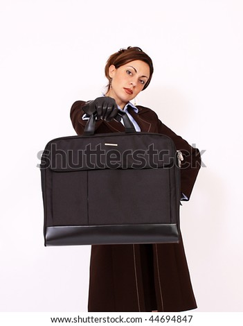 Attractive businesswoman holding a briefcase