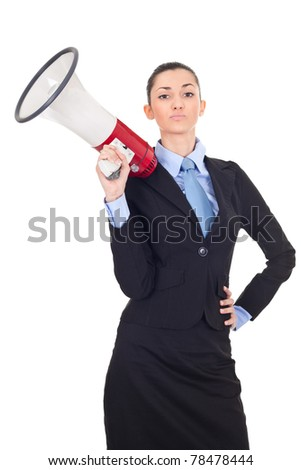 attractive businesswoman holding a megaphone over white background - stock photo