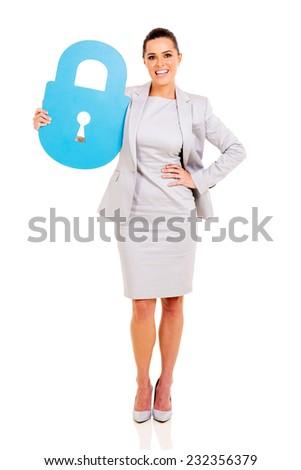 attractive businesswoman holding lock symbol on white background - stock photo