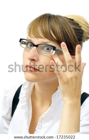 Attractive businesswoman in glasses, isolated on white - stock photo