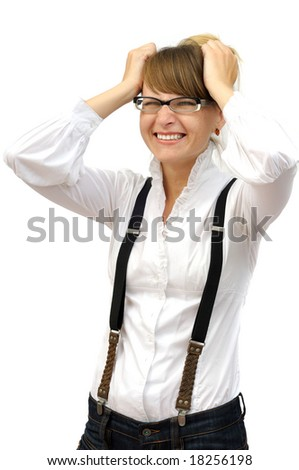 Attractive businesswoman in great panic. isolated on white - stock photo
