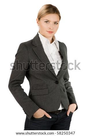attractive businesswoman in grey suit - stock photo