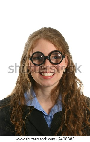 attractive businesswoman in thick glasses, humorous - stock photo