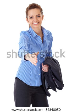 Attractive businesswoman in welcome pose, handshake pose, shoot over white background - stock photo