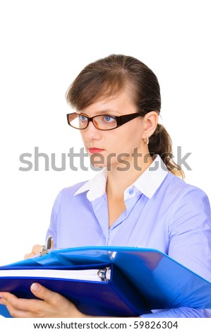 Attractive businesswoman is observing the technological process - stock photo