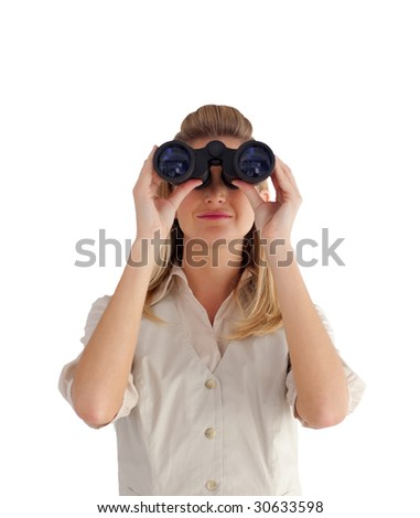 Attractive businesswoman looking through Binoculars