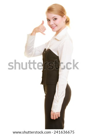 Attractive businesswoman making call me gesture. Blonde girl with phone hand sign. Business communication. Isolated on white. - stock photo