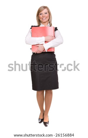 attractive businesswoman over white background