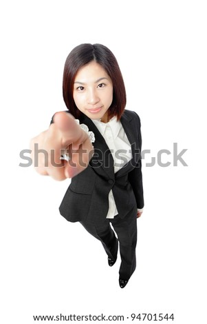 attractive businesswoman pointing her finger isolated on white background, model is a asian beauty - stock photo