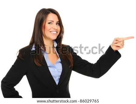 Attractive businesswoman pointing to the right of the screen, isolated on white - stock photo