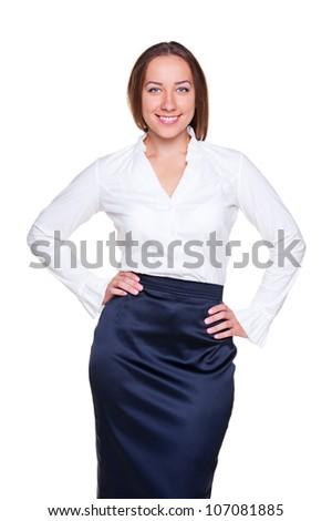 attractive businesswoman posing over white background. studio shot - stock photo