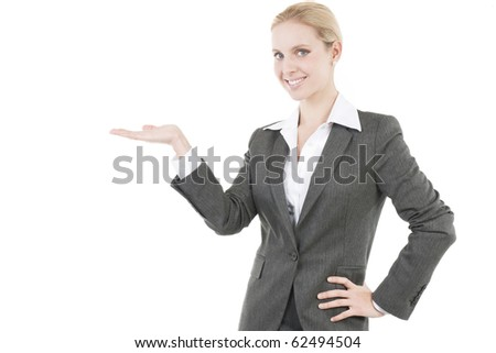 Attractive Businesswoman Presenting a Product