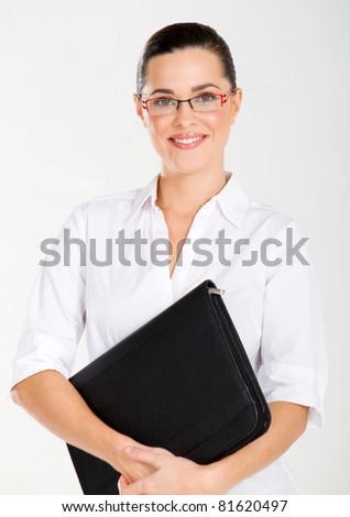 attractive businesswoman studio portrait on white - stock photo