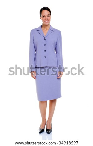 Attractive businesswoman wearing a lilac coloured skirt suit, isolated on a white background. - stock photo
