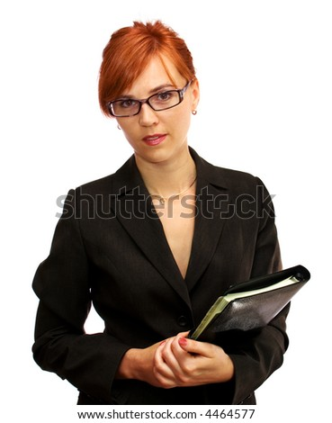 attractive businesswoman with a diary - stock photo