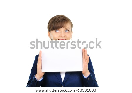 Attractive businesswoman with ad banner - stock photo