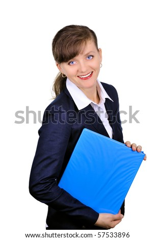 Attractive businesswoman with folders