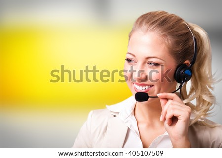 attractive businesswoman with headset - stock photo