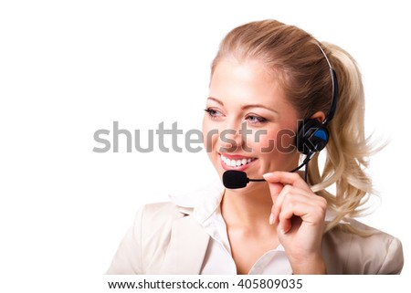 attractive businesswoman with headset isolated on white - stock photo
